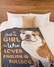 "Just a girl who loves English Bulldog Large Fleece Blanket - 60"" x 80"" aos-coral-fleece-blanket-60x80-lifestyle-front-02"