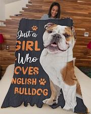 "Just a girl who loves English Bulldog Large Fleece Blanket - 60"" x 80"" aos-coral-fleece-blanket-60x80-lifestyle-front-04"
