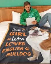 "Just a girl who loves English Bulldog Large Fleece Blanket - 60"" x 80"" aos-coral-fleece-blanket-60x80-lifestyle-front-06"