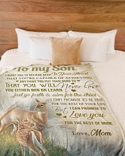 """To my son - I want you to believe in your heart Large Fleece Blanket - 60"""" x 80"""" aos-coral-fleece-blanket-60x80-lifestyle-front-02"""