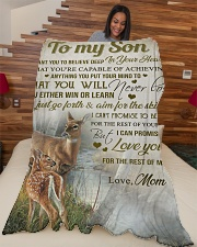 """To my son - I want you to believe in your heart Large Fleece Blanket - 60"""" x 80"""" aos-coral-fleece-blanket-60x80-lifestyle-front-04"""