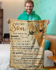 """To my son - I'm always right there in your heart Small Fleece Blanket - 30"""" x 40"""" aos-coral-fleece-blanket-30x40-lifestyle-front-09"""