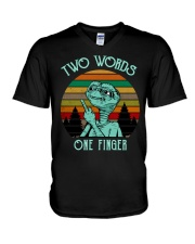 Two Word One Finger V-Neck T-Shirt thumbnail