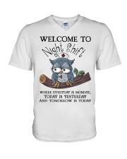 Owl Nurse welcome to night shift V-Neck T-Shirt thumbnail