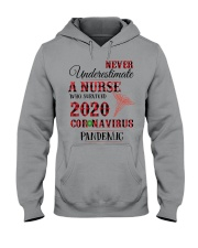 Never Underestimate A Nurse Who Survived 2020  Hooded Sweatshirt thumbnail