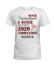 Never Underestimate A Nurse Who Survived 2020  Ladies T-Shirt thumbnail