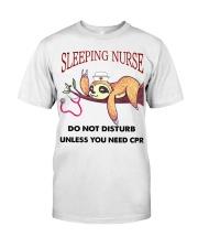 Sloth Sleeping Nurse Classic T-Shirt front