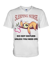 Sloth Sleeping Nurse V-Neck T-Shirt thumbnail