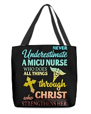 Never Underestimate A Micu Nurse T-Shirt All-over Tote thumbnail