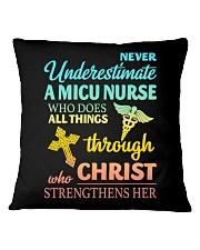 Never Underestimate A Micu Nurse T-Shirt Square Pillowcase thumbnail