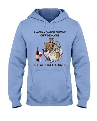 Woman needs cats and wine