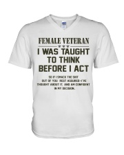 TAUGHT TO THINK BEFORE I ACT V-Neck T-Shirt thumbnail