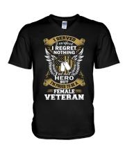 PROUD FEMALE VETERAN V-Neck T-Shirt thumbnail