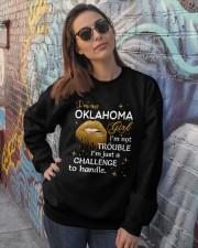 Oklahoma girl im not trouble Crewneck Sweatshirt lifestyle-unisex-sweatshirt-front-3