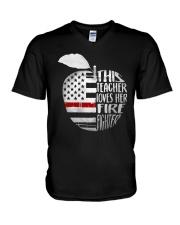 This Teacher Loves Her Firefighter Shirt V-Neck T-Shirt thumbnail