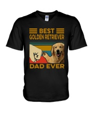 Vintage Best Golden Retriever Dad Ever Shirt V-Neck T-Shirt thumbnail