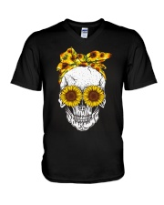 Skull Sunflower Eyes Shirt V-Neck T-Shirt thumbnail