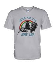 Raccoon Support Your Local Street Cats Shirt V-Neck T-Shirt thumbnail