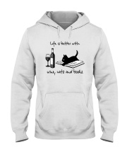 Life Is Better With Wine Cats And Books Shirt Hooded Sweatshirt thumbnail