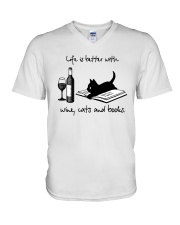Life Is Better With Wine Cats And Books Shirt V-Neck T-Shirt thumbnail