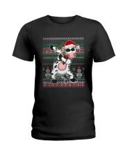 Christmas Dabbing Santa Cow Shirt Ladies T-Shirt thumbnail