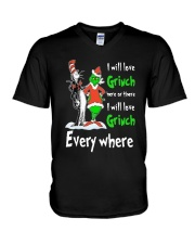 Dr Seuss I Will Love Grinch Here Or There Shirt V-Neck T-Shirt thumbnail