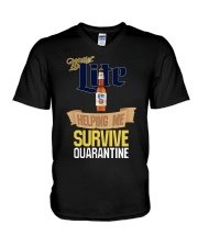 Miller Lite Helping Me Survive Quarantine Shirt V-Neck T-Shirt thumbnail