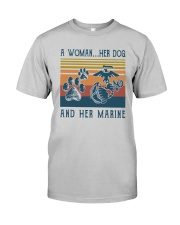 A Woman Her Dog And Her Marine Shirt Classic T-Shirt tile