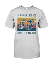A Woman Her Dog And Her Marine Shirt Premium Fit Mens Tee thumbnail