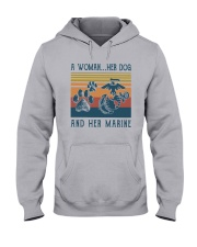 A Woman Her Dog And Her Marine Shirt Hooded Sweatshirt thumbnail