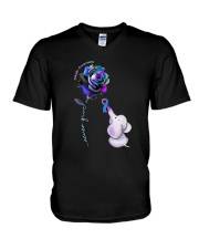 Rose Never Give Up Suicide Awareness Shirt V-Neck T-Shirt thumbnail