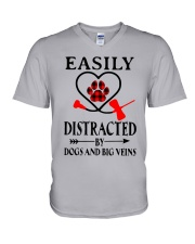 Easily Distracted By Dogs And Big Veins Shirt V-Neck T-Shirt thumbnail
