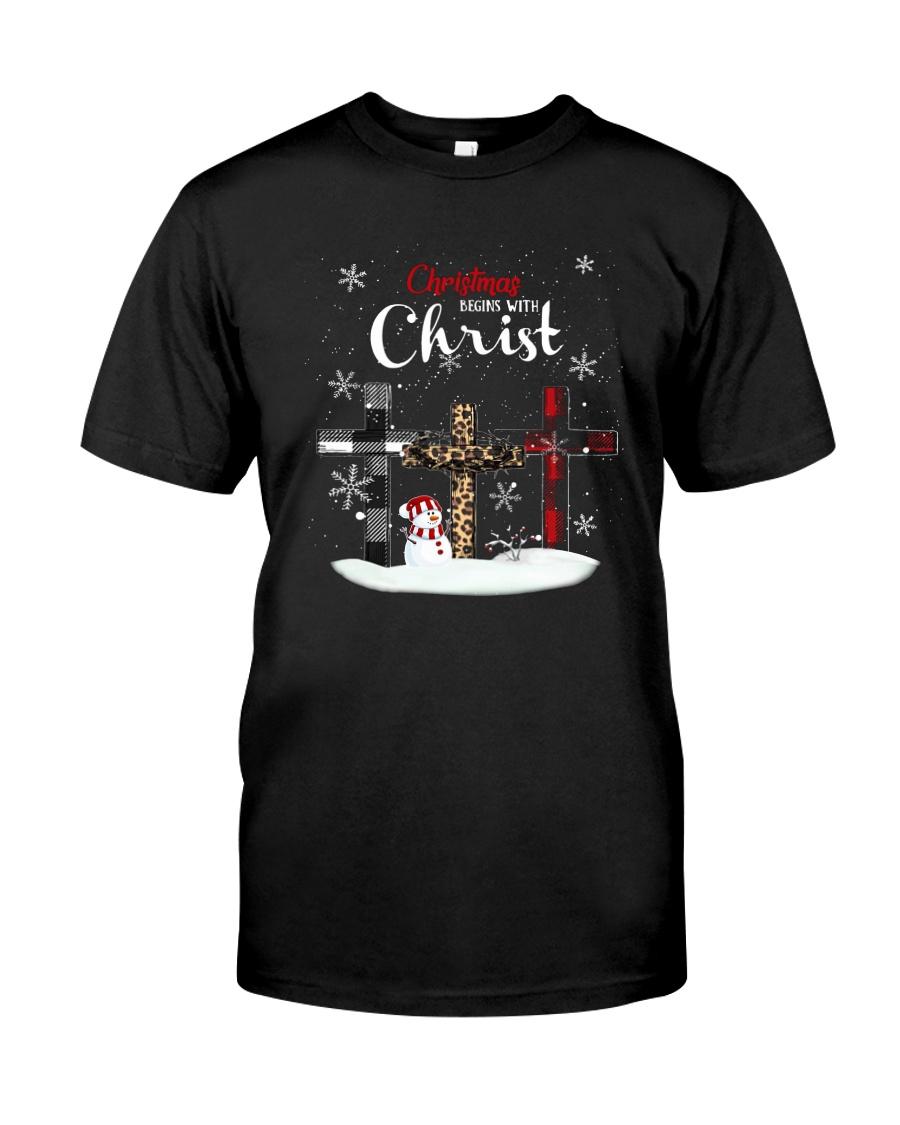 Leopard Print Christmas Begins With Christ Shirt Classic T-Shirt