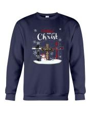 Leopard Print Christmas Begins With Christ Shirt Crewneck Sweatshirt thumbnail