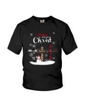 Leopard Print Christmas Begins With Christ Shirt Youth T-Shirt thumbnail