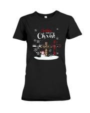 Leopard Print Christmas Begins With Christ Shirt Premium Fit Ladies Tee thumbnail