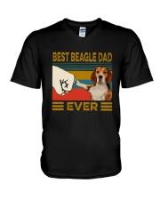 Vintage Best Beagle Dad Ever Shirt V-Neck T-Shirt thumbnail