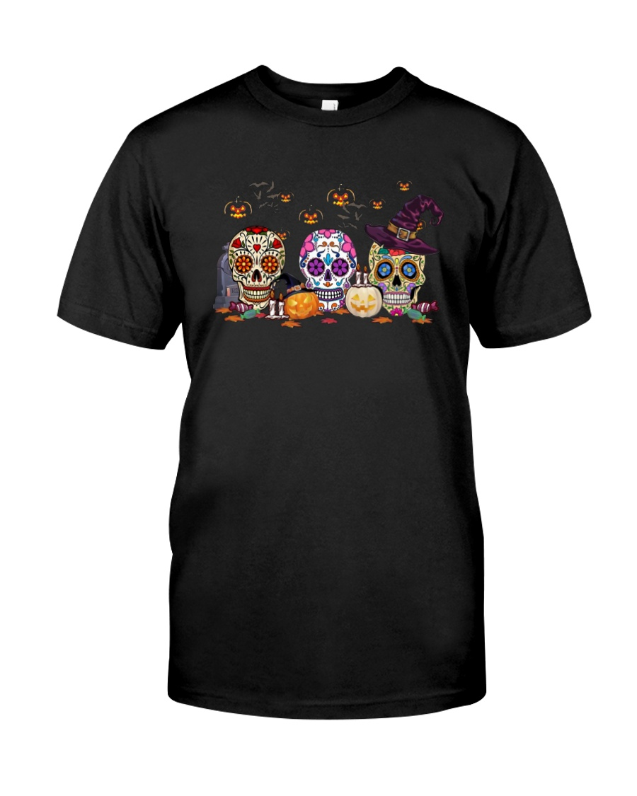 Halloween Pumpkin Hippie Skull Shirt Classic T-Shirt