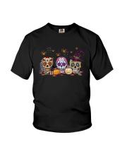 Halloween Pumpkin Hippie Skull Shirt Youth T-Shirt thumbnail