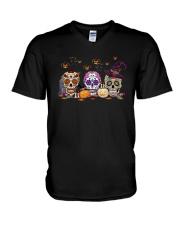 Halloween Pumpkin Hippie Skull Shirt V-Neck T-Shirt thumbnail