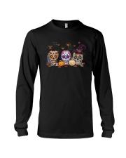 Halloween Pumpkin Hippie Skull Shirt Long Sleeve Tee thumbnail