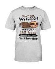 Sloth Didn't Care Yesterday Didn't Give Shit Shirt Premium Fit Mens Tee thumbnail