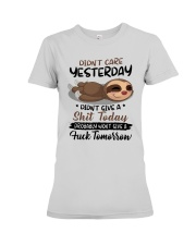 Sloth Didn't Care Yesterday Didn't Give Shit Shirt Premium Fit Ladies Tee thumbnail