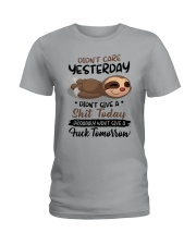 Sloth Didn't Care Yesterday Didn't Give Shit Shirt Ladies T-Shirt thumbnail