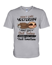 Sloth Didn't Care Yesterday Didn't Give Shit Shirt V-Neck T-Shirt thumbnail