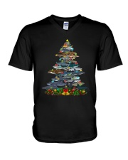 Shark Christmas Tree Shirt V-Neck T-Shirt thumbnail