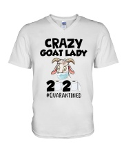 Crazy Goat Lady 2020 Quarantined Shirt V-Neck T-Shirt thumbnail