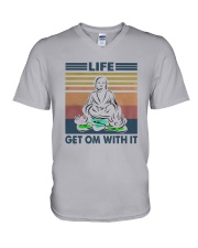 Vintage Yoga Life Get Om With It Shirt V-Neck T-Shirt thumbnail