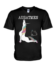 Unicorn Ausatmen Shirt V-Neck T-Shirt thumbnail