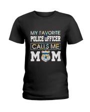 Floral Favorite Police Officer Calls Me Mom Shirt Ladies T-Shirt thumbnail